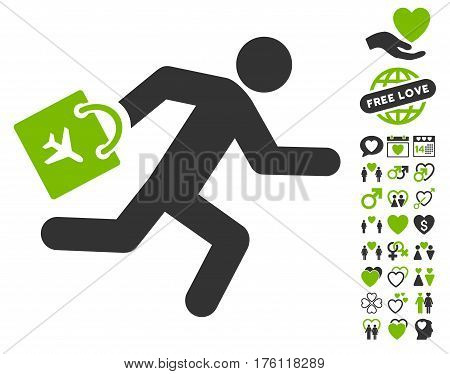 Late Airport Passenger icon with bonus lovely icon set. Vector illustration style is flat iconic eco green and gray symbols on white background.