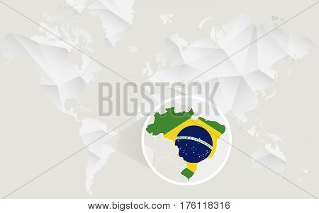 Brazil Map With Flag In Contour On White Polygonal World Map.