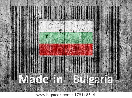 Bar code on concrete Made in Bulgaria