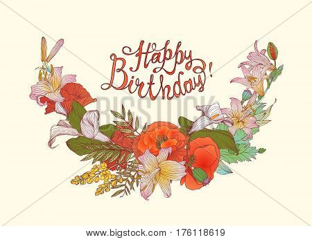 Happy Birthday! Vector congratulation card with flowers