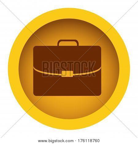 yellow color circular frame with silhouette briefcase executive icon vector illustration