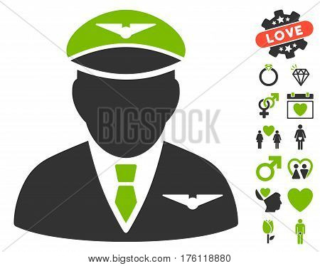 Pilot pictograph with bonus valentine graphic icons. Vector illustration style is flat iconic eco green and gray symbols on white background.