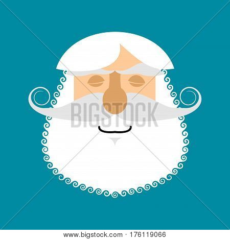 Old Man Sleeping Emoji. Senior With Gray Beard Face Asleep Emotion Isolated