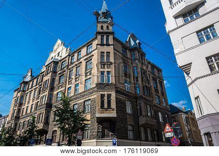 Apartment building on Gertrudes Street in Riga Latvia