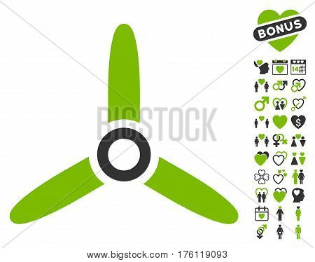 Three Bladed Screw icon with bonus valentine icon set. Vector illustration style is flat iconic eco green and gray symbols on white background.
