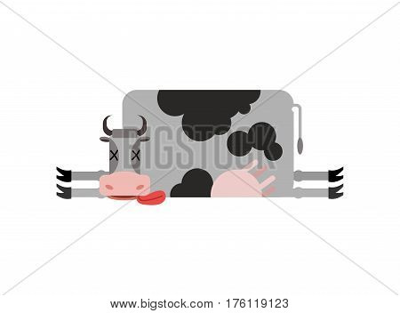 Dead Cow. Farm Animal Dead. Corpse Cattle