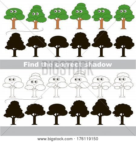 Leaf trees set with shadows to find the correct one. Game to compare and connect objects and their true shadows, the educational kid gaming, logic game with simple game level for preschool children.