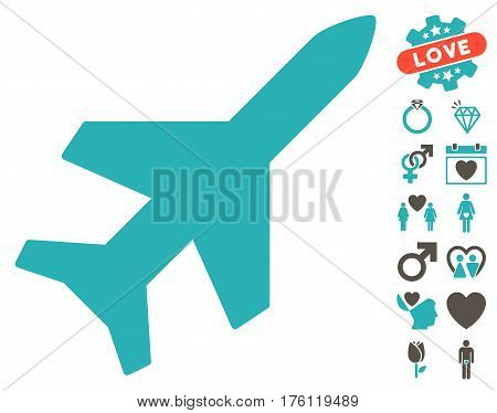 Aeroplane icon with bonus valentine graphic icons. Vector illustration style is flat iconic grey and cyan symbols on white background.