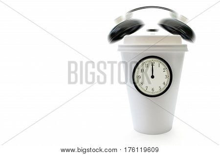 Taking a break concept with clock face and ringing bells around a plastic coffee cup with space