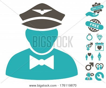 Airline Steward pictograph with bonus love design elements. Vector illustration style is flat iconic grey and cyan symbols on white background.
