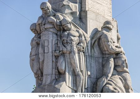 Statues on the Freedom Monument in Riga city Latvia