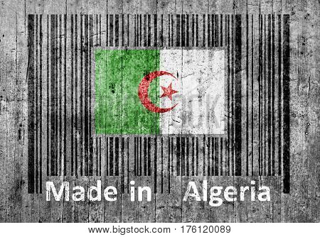 Bar code on concrete Made in Algeria