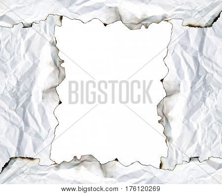 burnt edge paper with space for text on white background