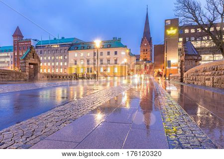 Malmo Cityscape downtown at night twilight in Sweden