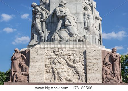 Details of base of Freedom Monument in Riga Latvia