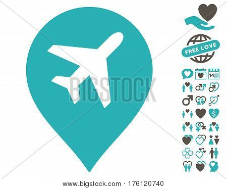 Airport Marker icon with bonus dating design elements. Vector illustration style is flat iconic grey and cyan symbols on white background.