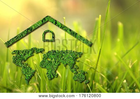 Concept ecology. Green house. World map component of the walls of the house isolated on natural background