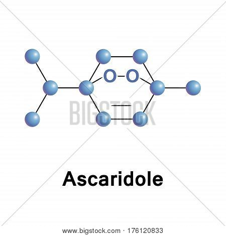 Ascaridole is a bicyclic monoterpene that has an unusual bridging peroxide functional group. It is used as an anthelmintic drug that expels parasitic worms from plants, domestic animals and the humans