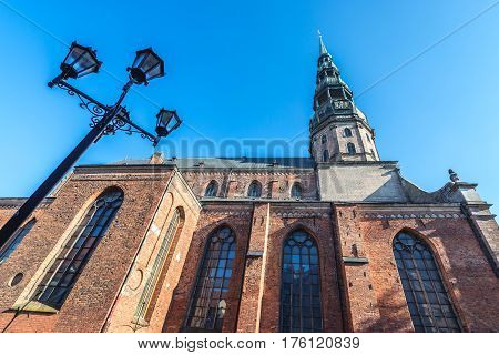 Lutheran church of St Peter Old City of Riga Latvia