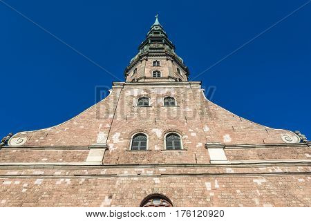 Tower of Lutheran church of St Peter Old City of Riga Latvia