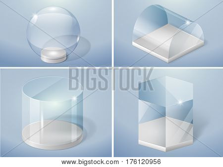 Set of glass forms of sphere prism arch and cylinder. Vector graphics with transparency effect