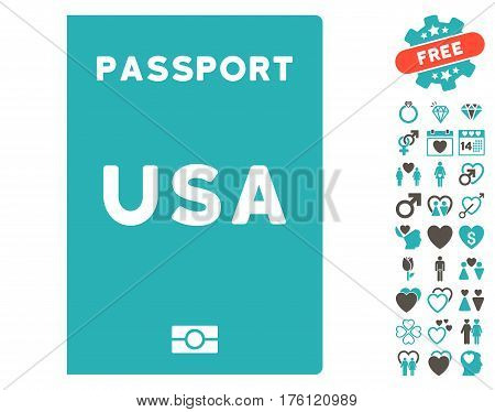 American Passport pictograph with bonus valentine icon set. Vector illustration style is flat iconic grey and cyan symbols on white background.