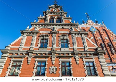Famous landmark building called House of Blackheads Old City of Riga Latvia