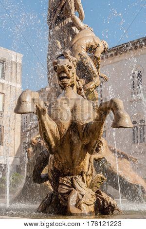 The Fountain On The Square Archimedes In Syracuse.