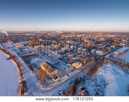 Ancient City in the Russian province - Rostov great. View of the coastal part of the city from a bird's eye view. Winter frosty morning. Yaroslavl region. Russia