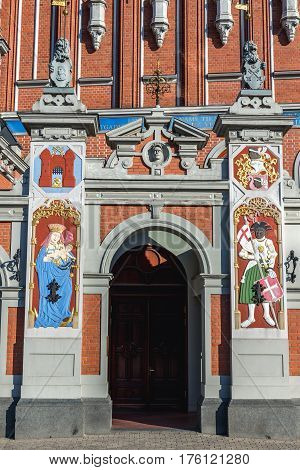 Details of famous building called House of Blackheads Old City of Riga Latvia