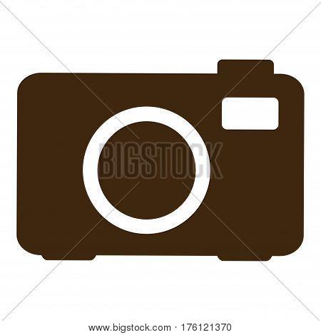 silhouette analog camera icon flat vector illustration