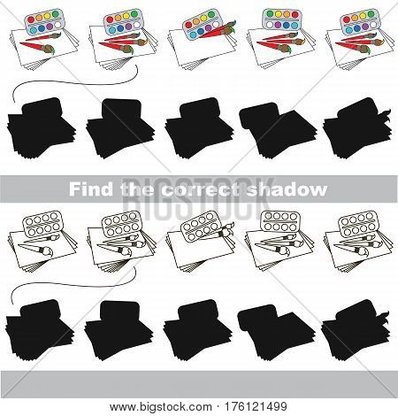 Watercolors with shadows to find the correct one. Game to compare and connect objects and their true shadows, the educational kid gaming, logic game with simple game level for preschool children.