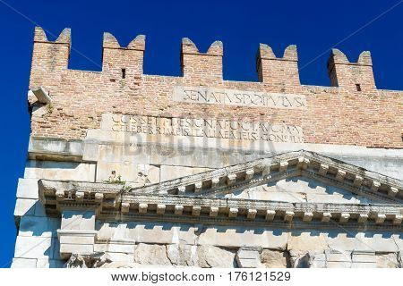 Rimini Italy View of the famous Arch of Augustus