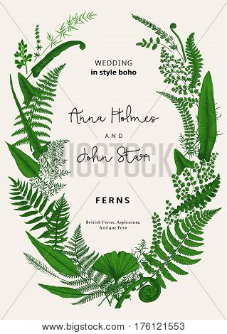 The wreath of ferns leaves. Wedding invitation in the style of boho. Vector botanical vintage illustration. Green