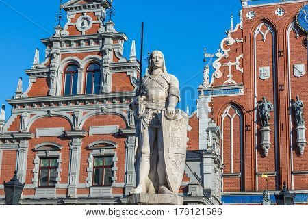 Roland monument and House of Blackheads on background Old City of Riga Latvia