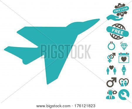 Intercepter pictograph with bonus valentine design elements. Vector illustration style is flat iconic grey and cyan symbols on white background.
