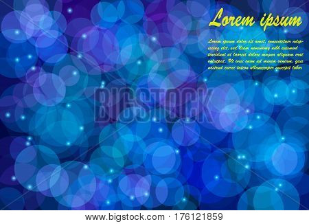 Blurry bokeh circles against dark blue background. Technology abstract background. Vector eps10.