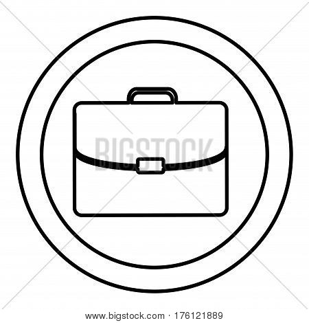 silhouette circular frame with silhouette briefcase executive icon vector illustration