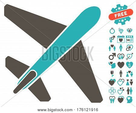 Jet Airplane pictograph with bonus love images. Vector illustration style is flat iconic grey and cyan symbols on white background.