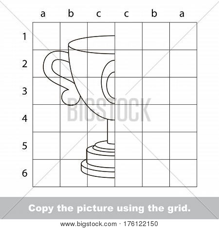 Vector kid educational game with easy game level for preschool kids education, finish the simmetry picture using grid sells, the funny drawing kid school, the drawing tutorial for half Trophy Cup