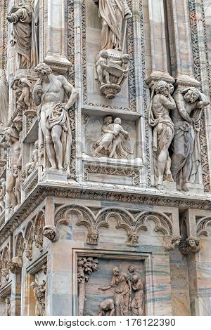Facade of the famous Milan Cathedral Lombardy Italy. Detail.