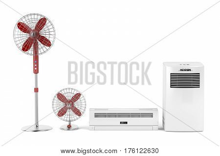 Split system and mobile air conditioners and electric fans, 3D illustration