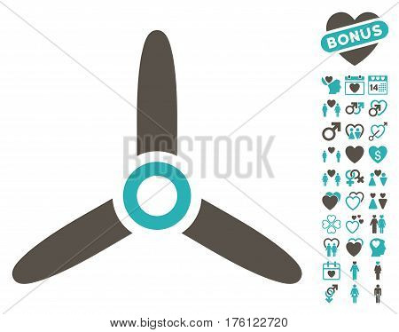 Three Bladed Screw pictograph with bonus love design elements. Vector illustration style is flat iconic grey and cyan symbols on white background.