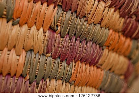 Colorful wicker basket background. Closed up wooden wicker texture background. Wicker handmade basket texture. Abstract texture and background for designers.