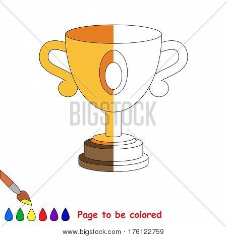 Trophy Cup to be colored, the coloring book to educate preschool kids with easy kid educational level to color the colorless half by sample..