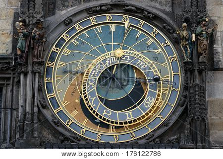 Detail of a historic astronomical clock called Orloj.