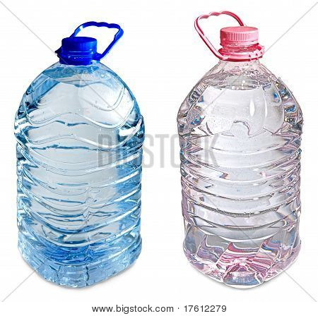 Two Five Liter Bottles Of Water Pink And Blue