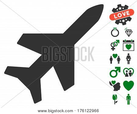 Aeroplane pictograph with bonus love design elements. Vector illustration style is flat iconic green and gray symbols on white background.