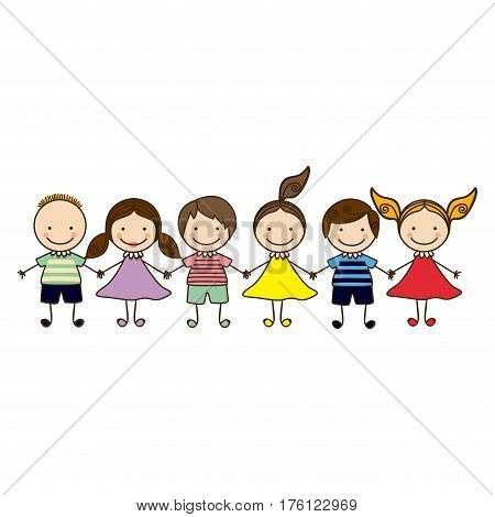 colorful front view group cartoon children vector illustration