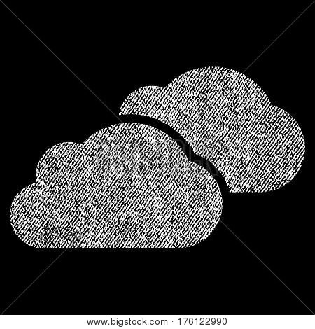 Clouds vector textured icon for overlay watermark stamps. Fabric white vectorized texture. Symbol with scratched design. Rubber seal stamp with fiber textile structure.